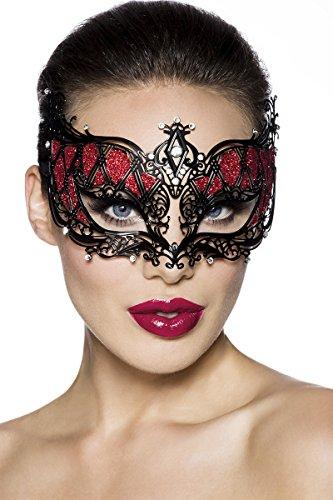 Filigrane Venezianische Maske aus Metall mit Strasssteinen (Modell ARMM08) (Swingers Halloween)