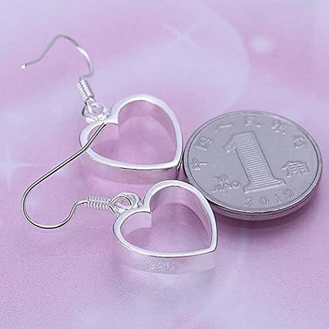 Flache Hohle Ohrringe Einfache Herzform Silber Ohrringe Frauen / Edelstahl / Antiallergic / Silber Gl?nzende / Kleine / Exquisite / Haken Ohrringe,Zahl