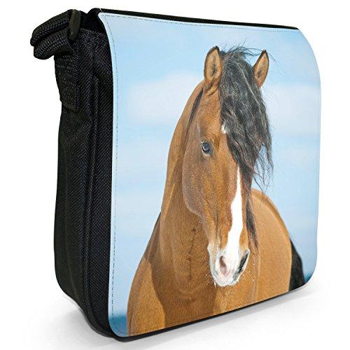 Schöne elegante braune Pferde Kleine Schultertasche aus schwarzem Canvas Braunes Pferd mit langer schwarzer Mähne