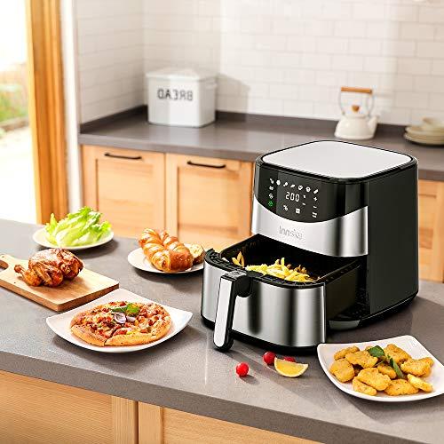 Innsky 5.5L Friteuse électrique sans huile, friteuse à air chaude, en acier inoxydable, une grande écran tactile, cuisson rapide et intelligente à une touche, avec recette gratuite.