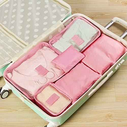 JIANYUXIN KosmetiktaschePacking Cube Reisetasche 6 Pack/Set Männer und Frauen Reisetaschen Reisetaschen Kleidung Sortiertaschen Großhandel Rosa