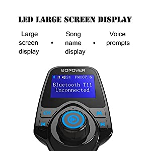 FM Transmitter,GooBang Doo Bluetooth Handsfree Car Kit Wireless Audio Adapter with 5V 2.1A USB Charger,1.44Inch LCD Display,3.5mm Audio Input,TF Card Slot,USB Flash Drive Port For iPhone,iPad,iPod,HTC,MP3 by GooBang Doo