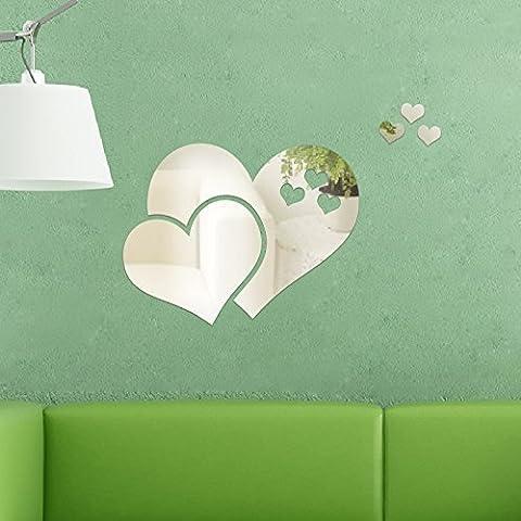 Walplus Wall Stickers Mirror Wall Art Crystal Abstract Heart Murals