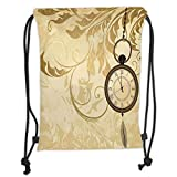 Drawstring Backpacks Bags,Clock Decor,A Vintage Grungy Background Design with Pocket Watches on Chain Romantic Art Print,Brown Soft Satin,5 Liter Capacity,Adjustable String Closure