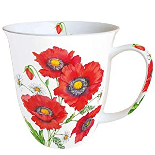 Ambiente Porzellan Becher, Mug, Tasse, Fuer Tee Oder Kaffee ca. 0,4L Poppy Scene, Mohn Blueme