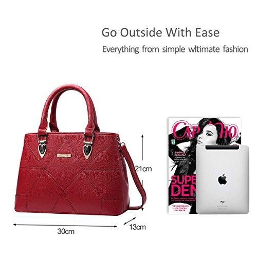 NICOLE&DORIS Le donne / signore adattano la borsa di Crossbody della borsa della spalla sacchetto sveglio Resistente all'acqua Totes morbido PU Rosso Vino Rosso