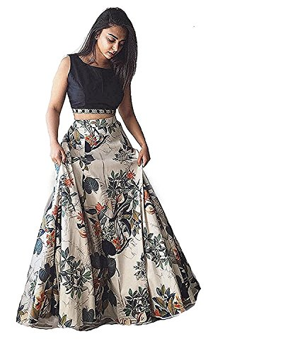 SKY GLOBAL Women's Benglori Satin Silk Digital Printed Semi-stitched Lehenga Choli.(SKY_945)