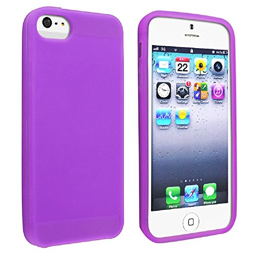 Gadgets World, in Gel flessibile in gomma morbida in silicone Custodia per Apple Iphone 6 & 6S (4.7-Inch Display) + Penna Stilo Touch. Purple
