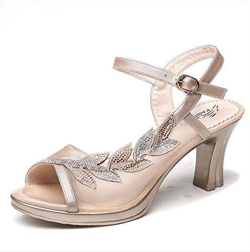 XY&GKSandalette High Heels Heel Sandalen Damen Sandalen für Frauen Tasten Damen Sandalen, komfortabel und schön 36 apricot