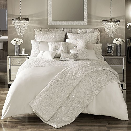Darcey-Oyster-Bettwaren von Kylie Minogue at Home; Verkauf durch BHQ, grau, King Duvet Cover: 230cmx220cm (Duvet Cover King)