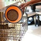 Upxiang Faltbare Küche Lebensmittel Sieb Obst Gemüse Waschkorb Silikon Sieb Abtropfsieb Gemüsekorb Mit Griff (Orange, Groß)