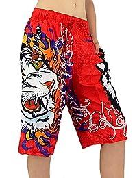 angesagte Damen Shorts mit stylischem Tiger/ Tattoo Print Freizeit Trainingshose S&LU Gr.: M - XXL