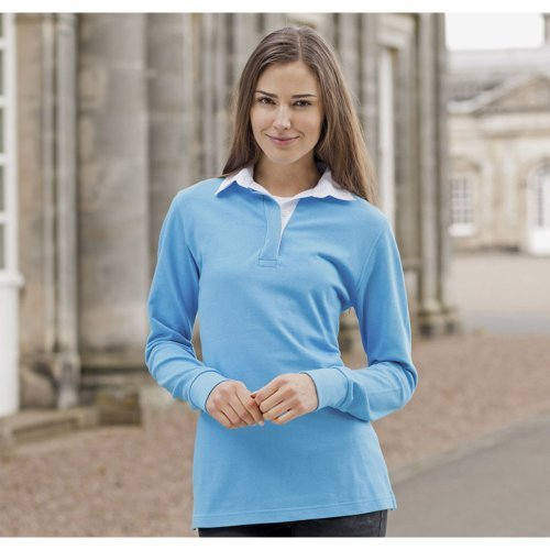 Front Row Ladies Long Sleeve Plain Cotton Rugby Shirt Surf Blue/White