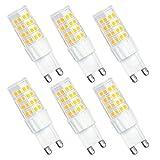 SHINE HAI bombillas LED G9 6W equivalentes a Lámparas halógenas de 45W,Blanco cálido 3000k,350LM,AC 220-240V,51x SMD 2835