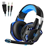 Gaming Headset for PS4, ZYSY Comfortable LED 3.5mm Stereo Gaming LED Lighting Over-Ear Headphone Headset Headband with Mic for Nintendo Switch PS4 Xbox One PC Computer Laptop Smartphones Mobile Phones Blue