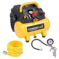 1.100 Watt compressor spiral hose and tire inflator set - 1,5 PS, 8 bar, 6 liter tank - Item # POWX1721 + Accessories