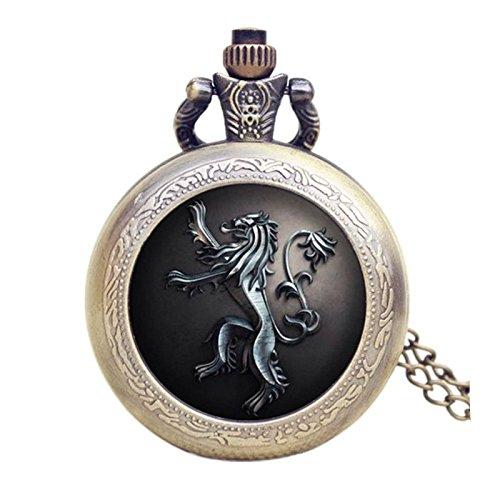 Game of Thrones Haus Lannister LOGO Antik Bronze Effekt Retro/Vintage Case Herren Quarz-Taschenuhr Halskette–auf 81,3cm Zoll/80cm Kette