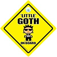 "Little Goth Little on Board, piccolo, stile Goth punk Goth, con scritta ""Baby on Board"", per auto, in stile gotico a forma di cartello Segnale auto ""Baby on Board"", adesivo, punk rocker"