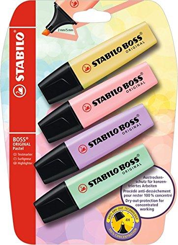 Textmarker - STABILO BOSS ORIGINAL Pastel - 4er Pack - pudriges Gelb, rosiges Rouge, Schimmer von...