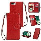 Philip Peacoc für iPhone 7/8 Plus Hülle, PU-Leder Wallet Case mit 9 Kartensteckplätzen, Horizontal Flip Case, Magnetverschluss Ledertasche mit Geldfach für iPhone 7/8 Plus (Color : Red)