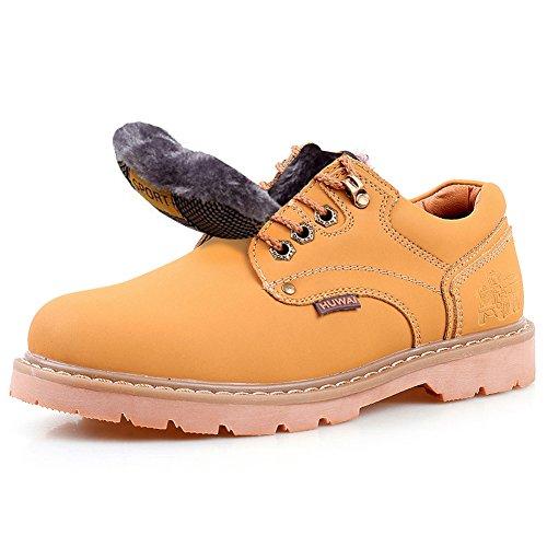 Rismart Hommes Cuir Véritable Chaussures à Lacets Industrie Chaussures de Travail 8566 jaune-fourrure