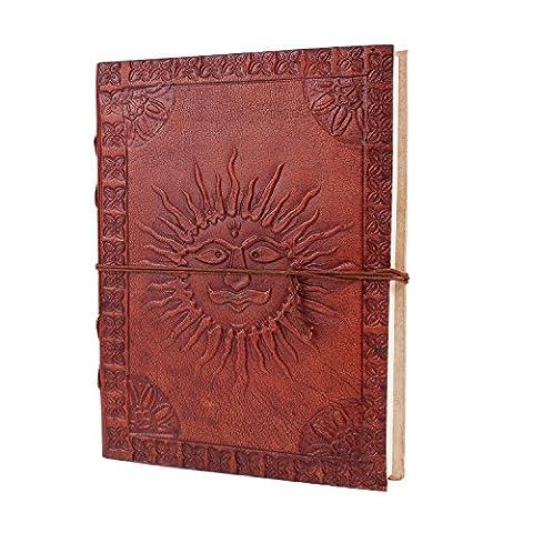 Cuir Diary Avec relief traditionnel Surya (Soleil) Motif de la