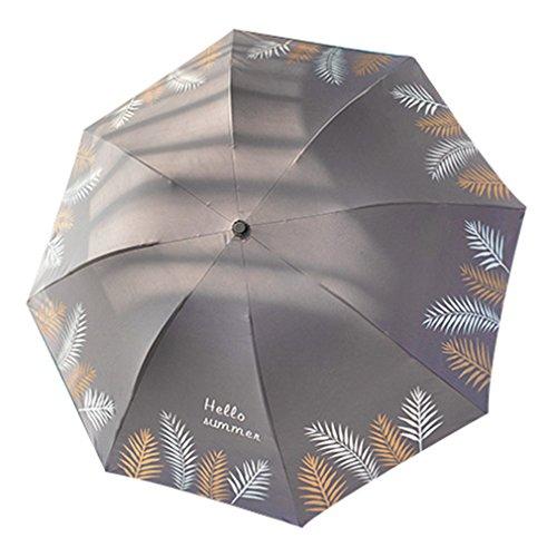 Guoke Kleine Frische Und Einfache Sen Retro Regenschirm Weibliche Regenschirm Dual-Use Falten Große Student Göttin Sonnenschirm, Gewöhnlichen - Vinyl - Grau