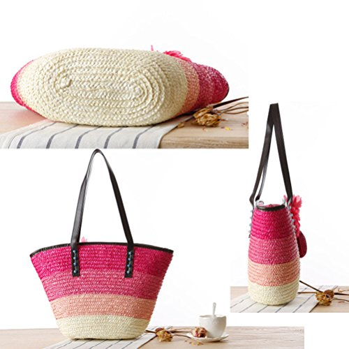 Hit for speciale Bolsa Woven Color Flowers Zhhlaixing Green hermosa Bags Womens Korean Shoulder Buns Single speciale Package Casual Striped Borsa Style Straw especial Beach Package fRBOwq