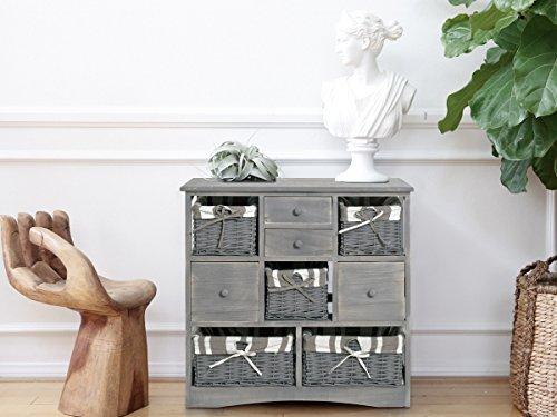 Credenza Per Bagno : Credenza cassettiera mobile cassetti cestini vimini grigio