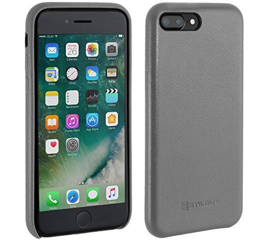 StilGut Premium Cover, edle Hülle aus echtem Nappaleder für iPhone 7 Plus, Grau Nappa
