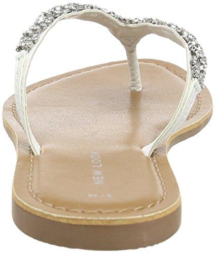 New Look Damen Forcing Sandalen mit Absatz White (White)