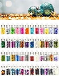 Imanom 48 Farben Festival Glitter Gesicht Körper Haar Nägel Dekoration, 3D Nail Art Glitter Pulver, Stein Strass, Pailletten Nagel Salon Ausrüstung für Weihnachten, Halloween DIY Craft Designs