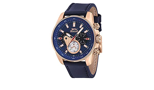 3854dc3f4e07 Buy SLAZENGER Mens Chronograph Leather Watch-SL11283202 Online at Low  Prices in India - Amazon.in