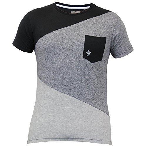 Uomo Maniche Corte A Rete T-shirt By Soul Star Nero - QUINPKB