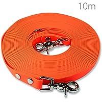 Schleppleine 10m - Neon-Orange - zugfeste, schmutz- und wasserabweisende Hundeleine mit zwei Karabiner und D-Ring