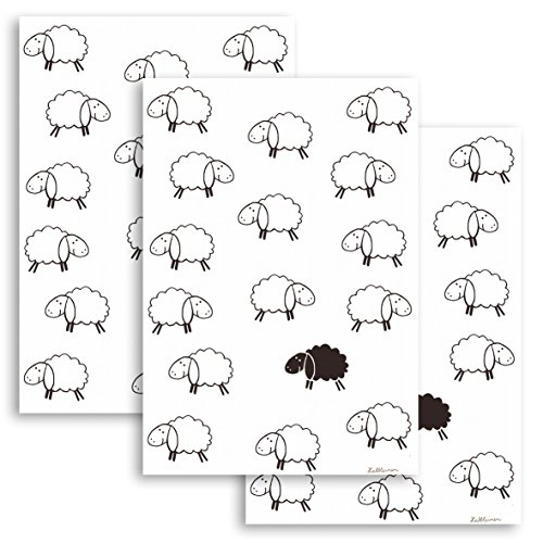 KRACHT, 3er-Set Geschirrtuch Halbleinen bedruckt, Motiv schwarzes Schaf, Edition ziczac-affaires, ca.50x70cm