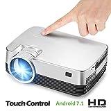 C-TK Tragbarer HD 1080p LED-Projektor, Geräuschkulisse WiFi-Anschluss-Sync-Bildschirm Android 6.0 Bluetooth 4.0, kann auf das Internet zugreifen, Spiele Spielen, 3D-Filme