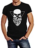 Neverless Herren T-Shirt Totenkopf mit Bart Triangle Slim Fit schwarz L