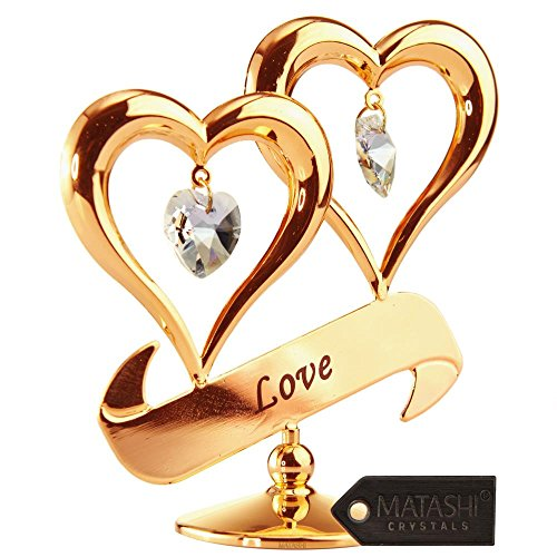 Double heart, figure bathed in gold of 24 carats and inlaid with authentic crystals.