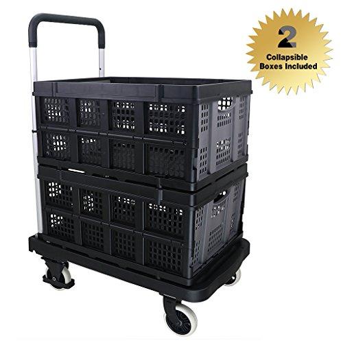 Finether Plattformwagen Klappwagen Transportkarre Rollwagen mit 2 klappbar Box Belastbar bis 130 kg | Transportwagen Mehrzweckwagen Stapelkarre Einkaufwagen aus Aluminium schwarz