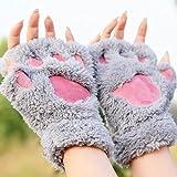 Buwico® Mujeres Oso gato de peluche Paw Pinza para guantes de invierno cálido mitones guantes de suave 10 Pairs/Pack gris