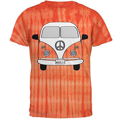 Old Glory Halloween-Reisen Bus-Kostüm Camper Fernweh Herren-T-Shirt Bambus Orange Tie Dye 2XL
