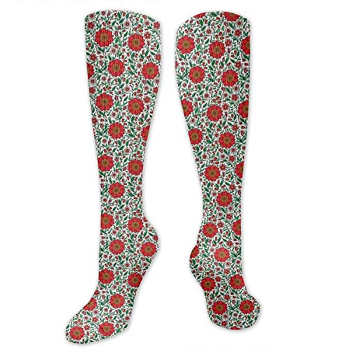 Unisex Highly Elastic Comfortable Knee High Length Tube Socks,Floral Pattern With Colorful Fantasy Plants Buds And Blossoms Summer Nature Art,Compression Socks Boost Stamina,Multicolor (Junge Tube Fantasy)