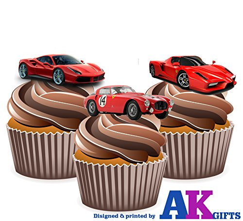 ferrari-sports-car-mix-cake-decorations-12-edible-wafer-cup-cake-toppers