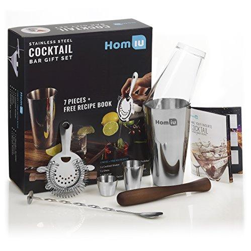 Homiu Deluxe Edelstahl Cocktailbar Geschenkset. Premium-Qualität, 7-teiliges Geschenk-Set enthält - 25ml & 50ml Bar Maße, Twisted Bar Löffel, Sieb, Holz Muddler & elegante Geschenkbox