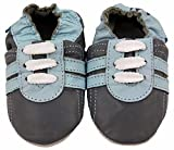 MiniFeet Premium Weiche Leder Babyschuhe, Grau Trainer 12-18 Monate Bild 2