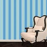 Hellblau gelbe elegante Block Streifentapete passt zur Borte Halali - Vlies Tapete Streifen - Klassische Wanddeko - GMM Design Tapete - Wandtapete - Wand Dekoration für edle Wohnakzente (Muster 20 x 46,5cm)