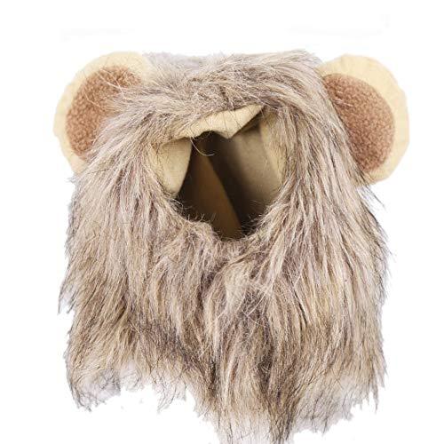 1pc Löwe Mähne Perücke Für Hund Und Katze Kostüm Haustier Wohl Fancy Lion Haar Hunde-Bekleidung Kleid Für Halloween Weihnachten Ostern Festival-Party-Aktivität (S 28cm)