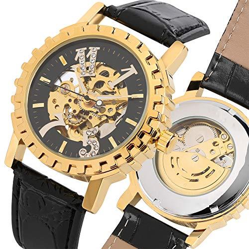 Liandd Herren Skelett Uhr Transparent Fluoreszierende Zeiger echte Business-Stil Uhr männliche Geschenke,Black (Skelett-uhr Fossil Damen)