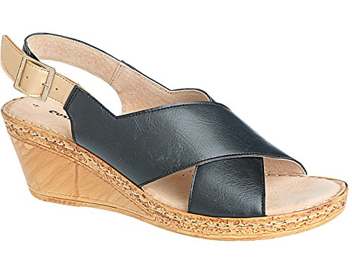 387f457e125 Ladies A03 Cushion Walk Wide E Fit Leather Lined Wedge Peep Toe Strappy Summer  Sandal Size 3-8 (UK 8